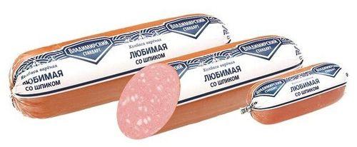 Колбаса вареная Любимая со шпиком Владимирский стандарт